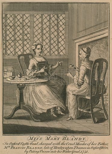 Miss Mary Blandy, in Oxford Castle Gaol, charged with the cruel murder of her father, Mr Francis Blandy, late of Henley on Thames, Oxfordshire, by putting poison in his watergruel, 1751.
