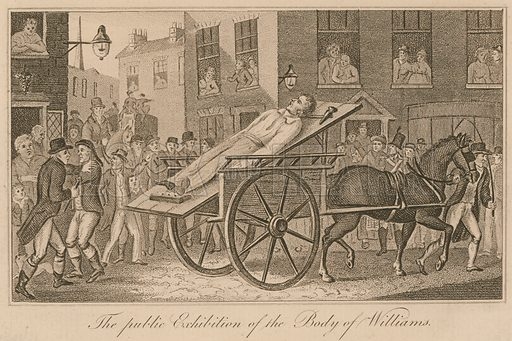The public exhibition of the body of John Williams, thought to have been responsible for the Ratcliffe Highway murders in 1811.