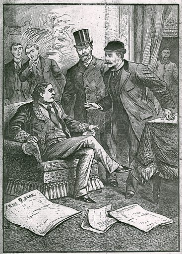 The arrest of Oscar Wilde: The pet of London society, one of our most successful playwriters and poets, arrested on a horrible charge; from the Illustrated Police Budget, 13 April 1895; Wilde was arrested at the Cadogan Hotel on 5 April 1895.