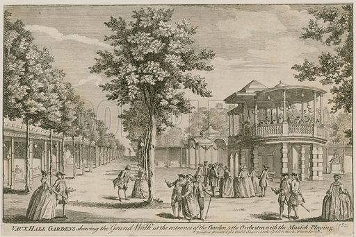 Vauxhall Gardens, London, showing the Grand Walk at the entrance of teh garden and The Orchestra, with the music playing.