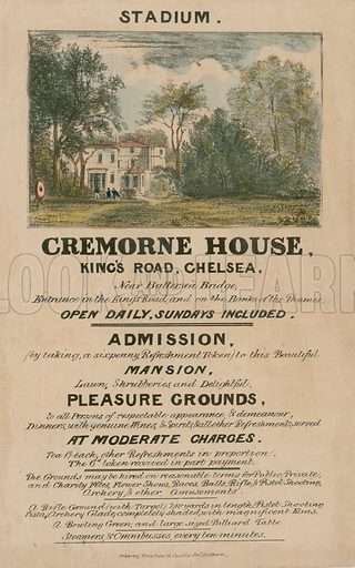 Promotional leaflet for The Stadium, Cremorne House, King's Road, Chelsea, London; dated 1836.