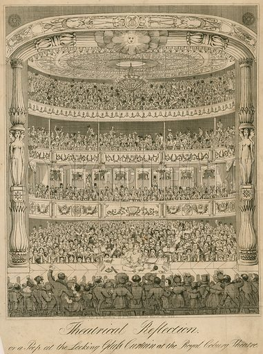 Theatrical reflection or a peep at the looking glass curtain at the Royal Coburg Theatre; published 20 March 1822.