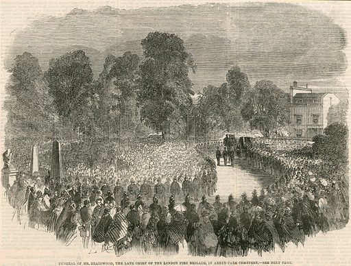 Funeral of Mr Braidwood, the late chief of the London Fire Brigade, in Abney Park Cemetery, London; from The Illustrated London News, 6 July 1861.