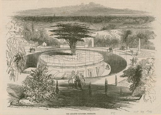 The Lebanon Catacombe, Highgate Cemetery, London; from Pictorial Times, 24 October 1846.