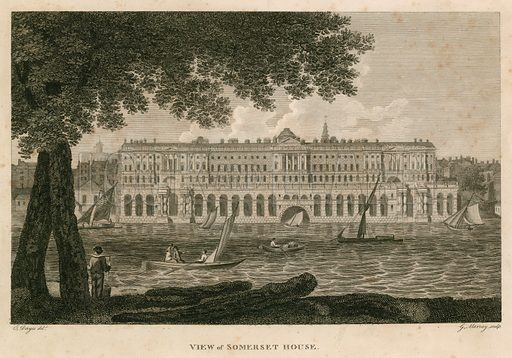 View of Somerset House, The Strand, London; published 24 February 1797.