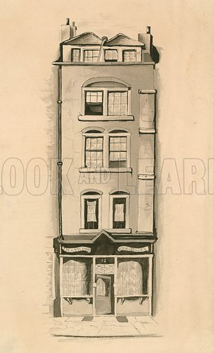 An original watercolour drawing of 18 Strand, Westminster, London, birth place of Charles Matthews, comedian.