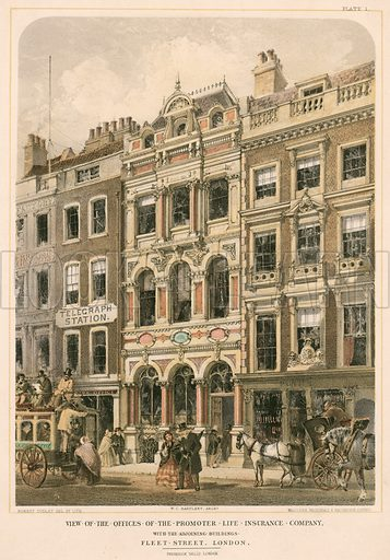 View of the officies of the Promoter Life Insurance Company with the adjoining buildings, Fleet Street, London.