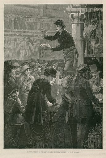 Illustration titled 'Saturday Night in the Metropolitan Poultry Market', depicting crowds gathered around a butcher selling in Smithfield Market, London. Published in the Illustrated London News on 21 December 1878.