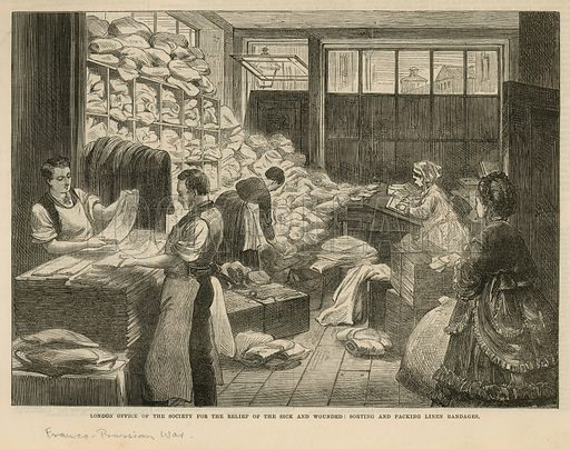 Illustration titled 'London office of the Society for the relief of the sick and wounded: Sorting and packing linen bandages.' during the Franco-Prussian war, at No 2 St Martin's Place, Trafalgar Square, London. Published in the Illustrated London News on 10 September 1870.