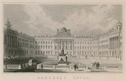 Illustration titled 'Somerset House', with a general view of the building on the Strand, London.