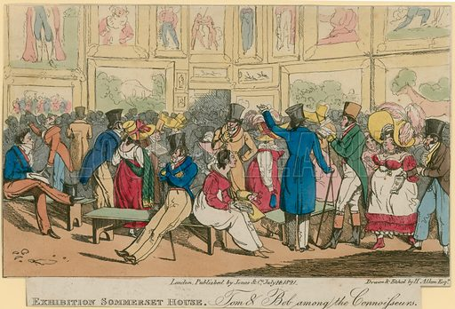 Illustration titled 'Exhibition Sommerset House - Tom & Bob among the connoisseurs', depicting an exhibition at Someset House, London. Published on 14 July 1821.