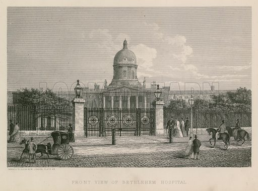 Front view of Bethlehem Hospital, also known as St Mary Bethlehem, Bethlem Hospital and Bedlam, a psychiatric hospital located in St George's Fields, Southwark, London.