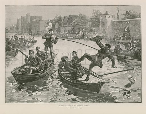 A water tournament in the fifteenth century, jousting on boats on a river. Published in the Illustrated London News on 6 July 1889.