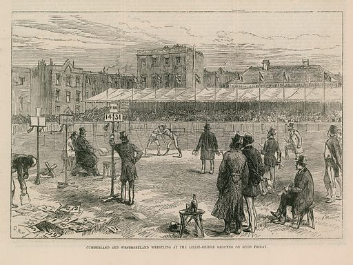 A group of men watching Cumberland and Westmoreland wresting at the Lillie Bridge Ground on Good Friday, in London. Published in the Illustrated London News on 3 April 1875.