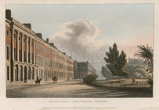North side of Grosvenor Square, in Mayfair, London. Published on 1 November 1813.