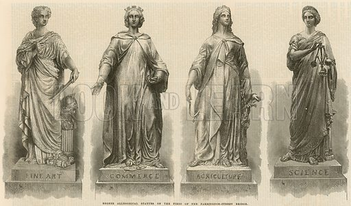 Bronze allegorical statues on the piers of the Farringdon Street Bridge, London, representing fine art, commerce, agriculture and science. Published in the Illustrated London News on 6 November 1869.