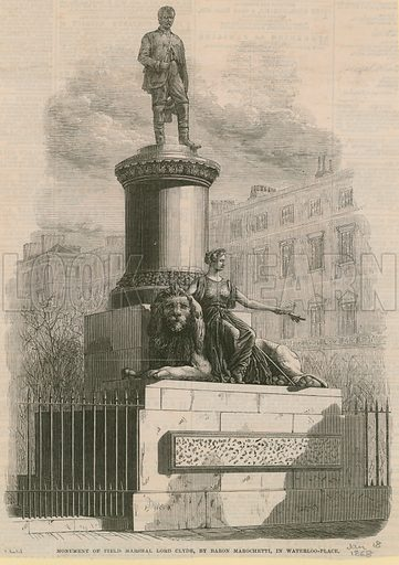 Monument of Field Marshal Lord Clyde, British Army officer who led the Highland Brigade in the Crimea, by Baron Marochetti, in Waterloo Place, London. Published in the Illustrated London News on 18 January 1868.