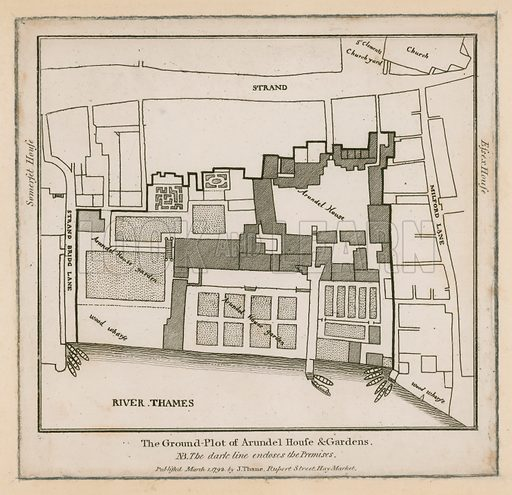 The ground plot of Arundel House and gardens, on the Strand, London. Published on 1 March 1792.