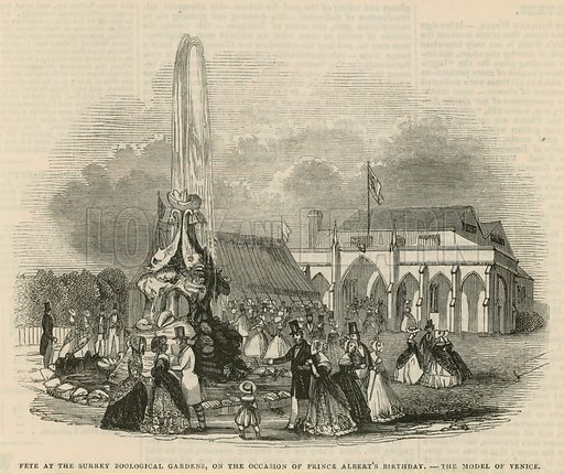 Fete at the Surrey Zoological Gardens on the occasion of Prince Albert's birthday - the model of Venice. Published in the Pictorial Times in 1844.