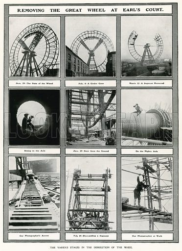 Removing the Great Wheel at Earl's Court, London