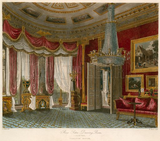 Rose Satin Drawing Room, Carlton House, London; published 1 December 1818.