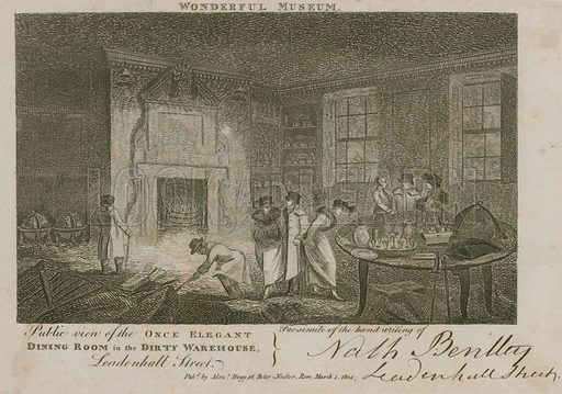 Public view of the once elegant dining room in the dirty warehouse, Leadenhall Street, London; published 1 March 1804.