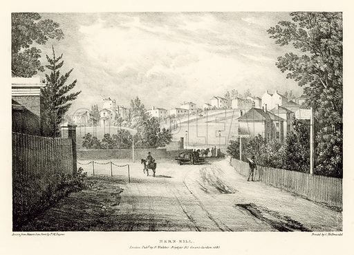 Hern Hill, London; Plate from Views of Picturesque Scenery of the Environs of London illustrated by TM Baynes, published 1823.