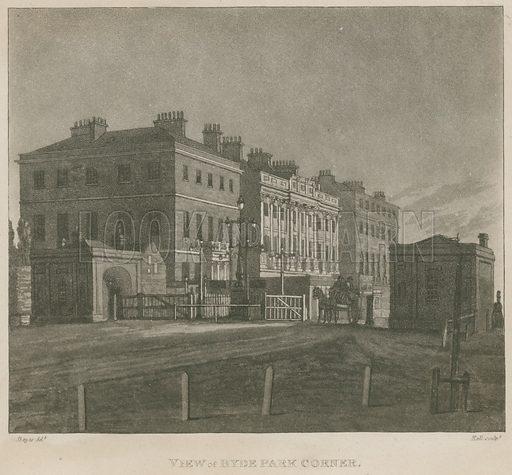 Hyde Park Turnpike, Hyde Park Corner, London; published 1 August 1810.