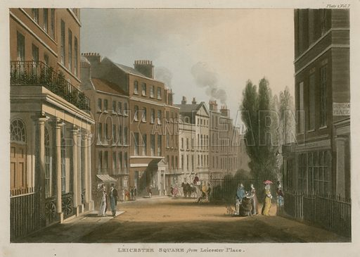 Leicester Square from Leicester Place, London; published 1 January 1812.
