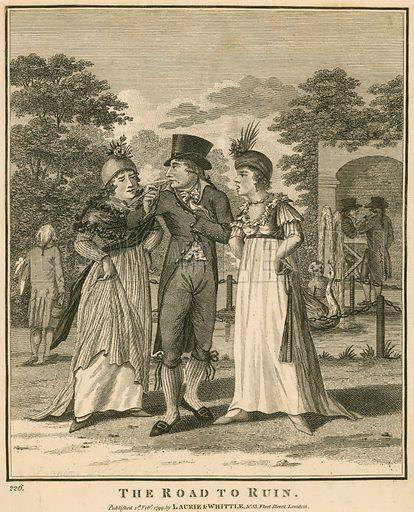 The road to ruin; published 1 February 1799 – John Rann, aka Sixteen String Jack the highwayman, hanged at Tyrburn, 30 November 1774.