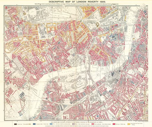 Descriptive map of London poverty, 1889; south-western sheet comprising the Parish of Chelsea and parts of Fulham, Kensington, St George's Hanover Square, Strand, Lambeth and the Battersea portion of Wandsworth.