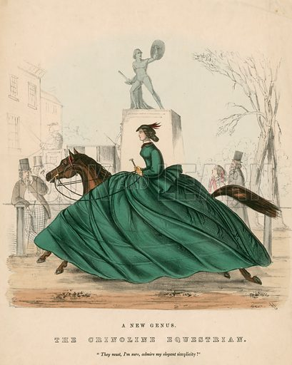 Crinolined equestrian, picture, image, illustration