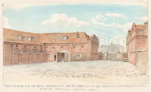 The stables of General Fairfax's House, High Street, Putney, 1887.