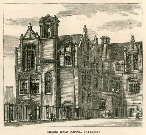 Architecture of the London School Board: Gideon Road School, Battersea, London; from The Graphic, 2 June 1877.