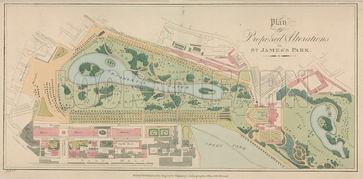 Plan of the proposed alterations to St James's Park, London.