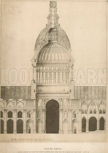 Old St Paul's Cathedral; a section showing the Choir with Sir Christopher Wren's suggestion for a dome over the Crossing and the new Nave; dated 1666.