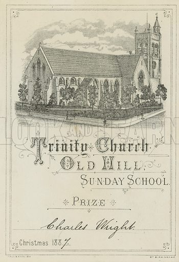 Trinity Church Old Hill Sunday School prize awarded to Charles Wright, for Christmas 1887.