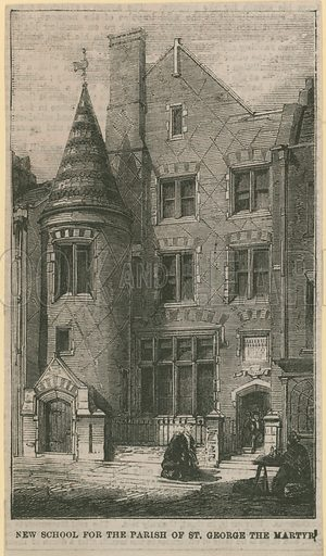 New school for the parish of St George the Martyr, London. Published in February 1859.