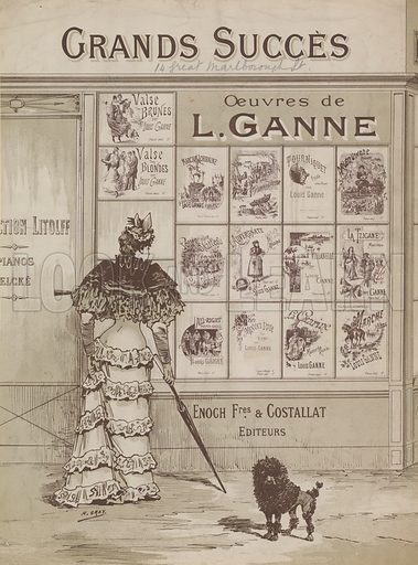 A woman and a small dogs standing outside a shopfront, Grands Succes, Oeuvres de L Ganne, 14 Great Marlborough Street, London.