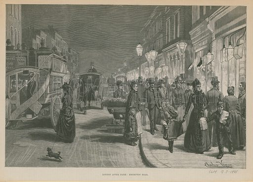 London After Dark: Brompton Road, London. Published in the Illustrated London News, 9 March 1895.