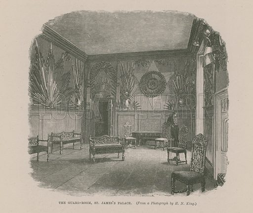 The Guard Room at St James's Palace, Pall Mall, London.