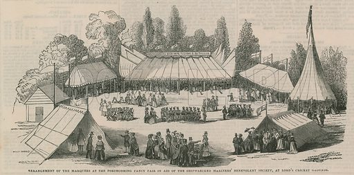 Arrangement of the marquees at the forthcoming fancy fair in aid of the Shipwrecked Mariners' Benevolent Society, at Lord's Cricket Ground, Marylebone, London. Published on 15 June 1844.