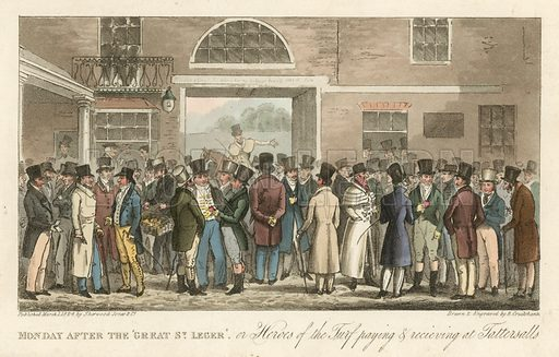 Monday after the Great St Leger, or heroes of the turf paying and receiving at Tattersalls, London. Published in March 1824.
