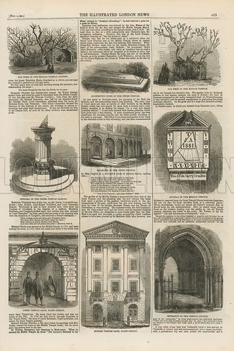 Page from the Illustrated London News (published on 9 November 1861), with illustrations depicting an old tree in Middle Temple Garden, Oliver Goldsmith's tomb in the Inner Temple, an old tree in the Middle Temple, a sundial in the Inner Temple Garden, cloisters in the Inner Temple, a sundial in the Middle Temple, Inner Temple Gate, Fleet Street, Middle Temple Gate, Fleet Street, and the entrance to the Temple church.