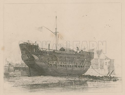 The Discovery, convict ship, lying at Deptford, on the Thames, London.