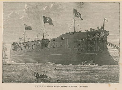 Launch of the Turkish ironclad frigate Mes Oudiyeh at Blackwall, London. Published on 7 November 1874.
