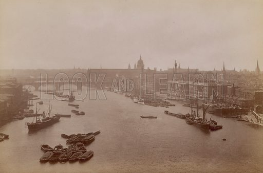 Postcard with a view of the Thames, London.