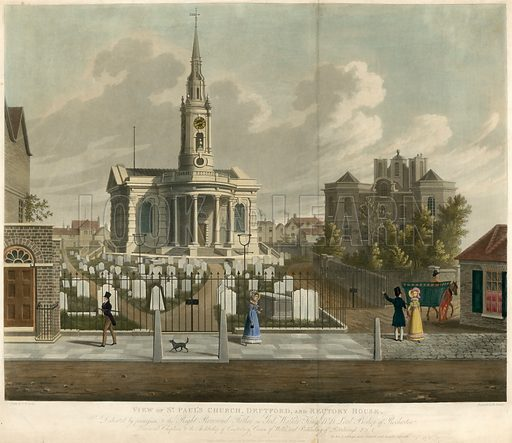 View of St Paul's Church, Deptford, London, and Rectory House; published 25 September 1822.