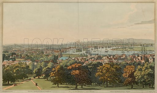 View of London from Greenwich Park; published 1 June 1796.