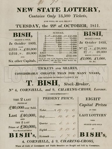 New State Lottery, run by T. Bish, stockbroker, 4 Cornhill and 9 Charing Cross, London.